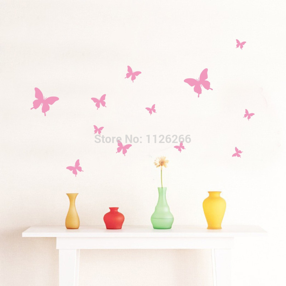 product Removable Various Color  Butterflies Decorative Wall Stickers Vinyl Wall Art Decals for Kids Rooms Home Decor