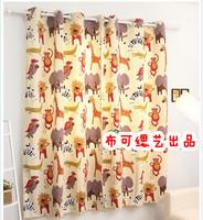 ikea style children kid cartoon zoo cotton canvas Bedroom Curtains