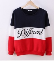 [Magic] 2014 winter newest style cotton hoodies letters Diffferent printed mix color casual sweatshirt women fleece sweatshirts