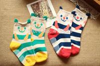 800pair/lot wholesale striped cartoon cute bear style cotton anti-slip unisex  kids children's socks