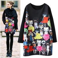Free Shipping  New 2015 Spring&Autumn Runway Plus Size XXXL Embroidery Printed Fox cartoon  Black Casual Dresses LJ290QAF