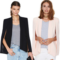 Champagne solid color unique female small suit jacket 2015 new fashion women open sleeve blazer jacket outwear  haoduoyi