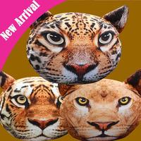 Nordic Fashion Chair Pillow cover Personality Car Cushion Cover Creative Tiger leopard lion shape Nap pillow  Cute seat cushion