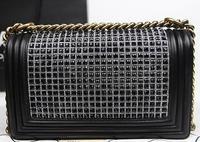 2014 brand name women diamonds lambskin BOY CC Flap Bag fashion shoulder bag NO.A67025-diamonds
