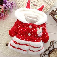 winter girls coats rabbit kids jackets hooded fur dots children clothing baby outerwear panya chl03