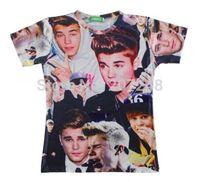 2015 New high quality Women's Men's Short Sleeve T shirt Fashion Bieber Print 3D t shirt S M L XL XXL