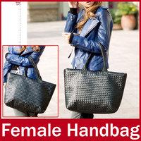 2015 New Brand Unisex European and American Style Knitting Women Handbag Fashion Ladies Zipper Hasp Hand Totes Bag For Female