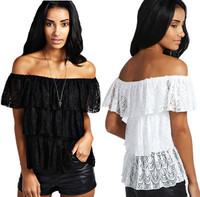 Fashion Women Blouse Tops Short Sleeve Three-layers Lace Patchwork Sexy Shirt Female Casual Slash Neck Lace T-shirt Black/White