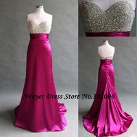 Fashion Real Photos vestido longo Mermaid Evening Dresses Sweetheart Crystal Beading Dress party evening elegant Robe de Soiree