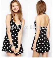 Women's European leg Sweet Polka Dot Halter V-neck dress in black and white dots