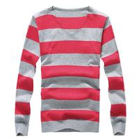 hot 2015 free shipping korean spring autumn fashion new stripe boomer men's clothing V-neck slim casual sweater multicolor