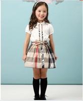 6Set Children girl's summer 211038 girl child plaid set short-sleeve casual shirt+short plaid skirt 2-piece/set