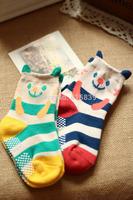 200pair/lot wholesale striped cartoon cute bear style cotton unisex children kids baby socks