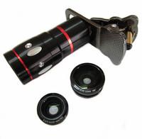 Gold Universal 4 in 1 lens Set 10X Optical Zoom Telescope Magnifier Fisheye Macro Wide Angle Lens free ship