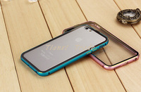 New style Double colors Aluminum Bumper + Transparent Back Cover Case For Apple Iphone 6 6G 4.7 inch Free Shipping