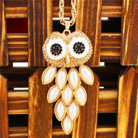 Fashion Jewelry Anitque Gold Plate Cute Owl Pearl Bead Pendant Necklace TN64