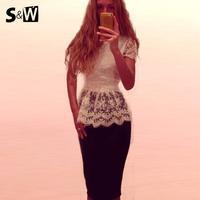 Suewong 2014 New Fashion Hot Sale Sexy White Lace Tops Slim Waist Woman Shirt Summer