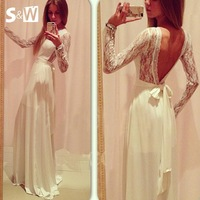 Suewong 2014 New Fashion Hot Sale Long Sleeve White Lace Gown with Sexy Backless Dress for Evening Party Club