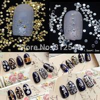 1000pcs/lot 1.5*1.5mm 3d Design Gold / Silver Metal Nail Art Decoration Rhinestones Tips Metal Studs DIY Charms Nail Art #ND33