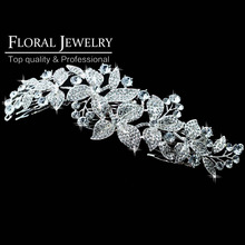 New 2015 Large Leaf Crystal Imitation Gemstone Bridal Hair Combs Hairpin Wedding Hair Accessories Hair Jewelry FS044