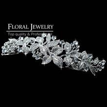 New 2015 Large Leaf Crystal Imitation Gemstone Bridal Hair Combs Hairpin Wedding Hair Accessories Hair Jewelry