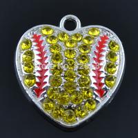 20pcs/lot New product enamel crystal heart baseball pendants