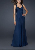 The  Newest Sexy prom party Sleeveless deep V neck  Long  chiffon Backless for special occasion Custom made