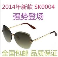 2014 women's diamond rimless sunglasses glasses all-match fashion