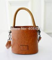 Hot Sale! 2015 Fashion Woven Women Bucket Bag Small Leather Handbag Brand Designer Bag Women Messenger Bag Bolsas 0331A