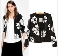 Spring 2015 Brand Design Ladies New Chic Floral Print Long Sleeve Blazer Suit Blazers Coat  blazer feminino Casual Clothing Tops
