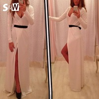 Suewong 2014 New Fashion Hot Sale Sexy Deep V-neck Long Sleeve White Gown Dress for Evening Party Club