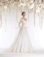 unique designer new  Appliqued long sleeve off the shoulder muslim bridal wedding dress With Bridal Gown for winter 2015 RR-062