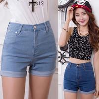 Korean Idol Punk Fashion 2014 New Summer High Waist Stretch Denim Shorts Casual women Shorts Jeans Plus Size T26-23