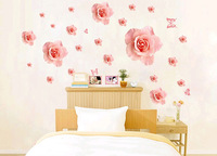 Sweet Pink Rose Flower Large Wall Sticker Home Decor Wedding Decoration Room Mural Wallpaper Decals