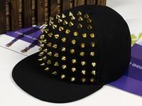Punk Style Fashion Adults Baseball Caps Rivet Caps Adjustable Size Black Color Hip Hop Hats Free Ship