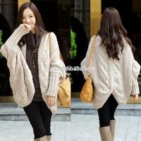 2014 Shag line loose twist long ladies cardigan sweater