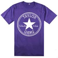 High quality colorful design men Taylor gang T-shirt wiz khalifa hiphop male short-sleeve tshirt short-sleeve t shirt summer