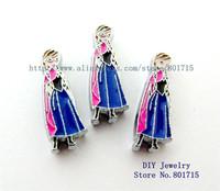 Frozen-Anna 10pcs Slide charms Internal Dia.:8mm Can through 8mm band pet collar key chain zinc alloy