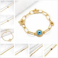 Min.mix order is $10 --Arab 9K Gold Filled Unisex bracelet crystal chain greek nazar CZ turkish charms
