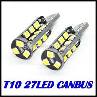 Free Shipping 4pcs/lot T10 led canbus 27SMD W5W 2835smd LED Wedge Light Bulb White high Lumen 550LM