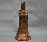 bir 003457 10'' China Tibet Kwan-yin Guanyin Buddha Hold Yuyi Bronze Statue