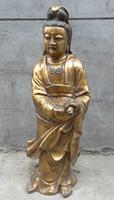 "bir 003468 32"" Chinese Bronze Gilt Buddhist Stand Kwan-Yin QuanYin Buddha Statue Sculpture"