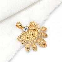 Min.mix order is $10 -- Arab 9K Gold Filled CZ crystal Unisex Pendant spike mosque leaf fun gold spike fun leaf symbol