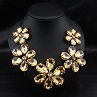 2015 Fashion Retro Fashion Exaggerated Crytsal Flower Choker Gem Sweather Chains Collar Necklace 9840