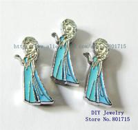 Mix min order 10$ Frozen-Elsa wholesales 10pcs Slide charms Internal Dia8mm Can through 8mm band pet collar key chain zinc alloy