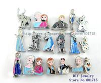 Mix min order 10$ mix Frozen charactors wholesales 10pcs Slide charms Internal Dia8mm through 8mm band pet collar key chain