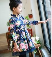 Stand collar flower printed fashion girls dress long sleeve princess