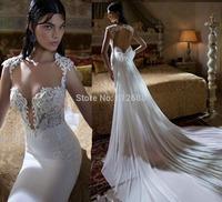 Romantic Brand vestido de noiva Sweetheart Lace Beaded Sexy Open Back Bowknot Chapel Train Fashion Mermaid Wedding Dresses 2015