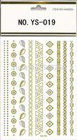 2015 New Design Tattoo Bracelets Necklaces Metal Tatoo Stickers Body Art Flash Tattoo Golden Metalic Temporary Tatoo Sex Product