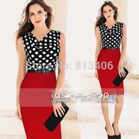 Vestido Femininos Women Elegant Polka Dot Patchwork Knitting Belted Rockabilly Dress High Waist Tunic Business Pencil Dress H61